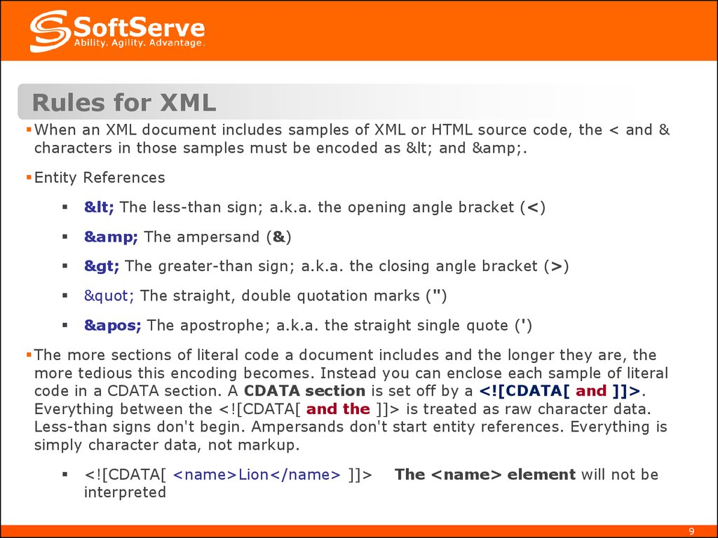 Rules for XML