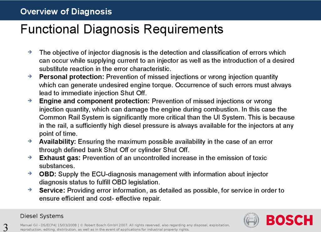 Functional Diagnosis Requirements