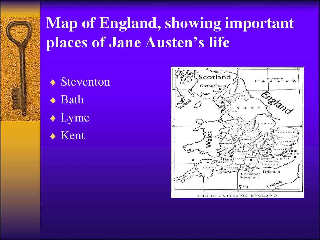 Map of England, showing important places of Jane Austen's life