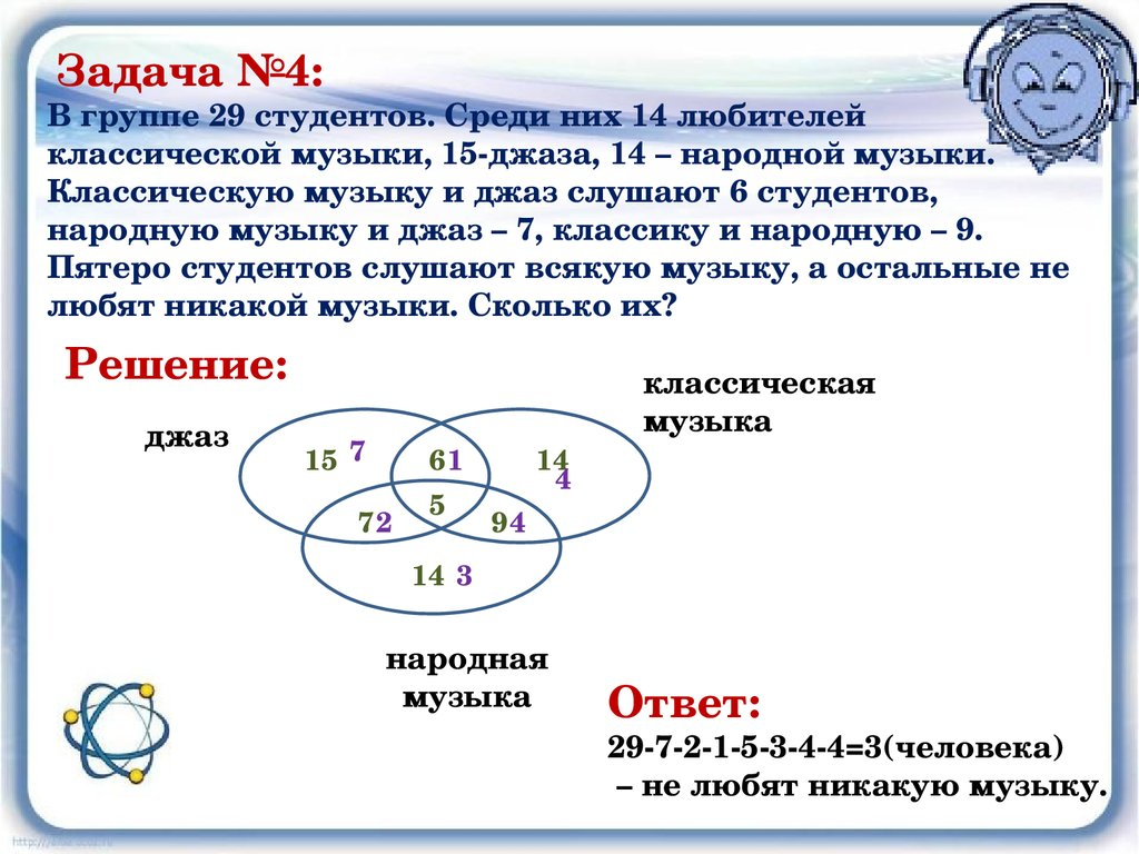 Решение задач кругами эйлера 8 класс решение задачи для изготовления четырех видов продукции
