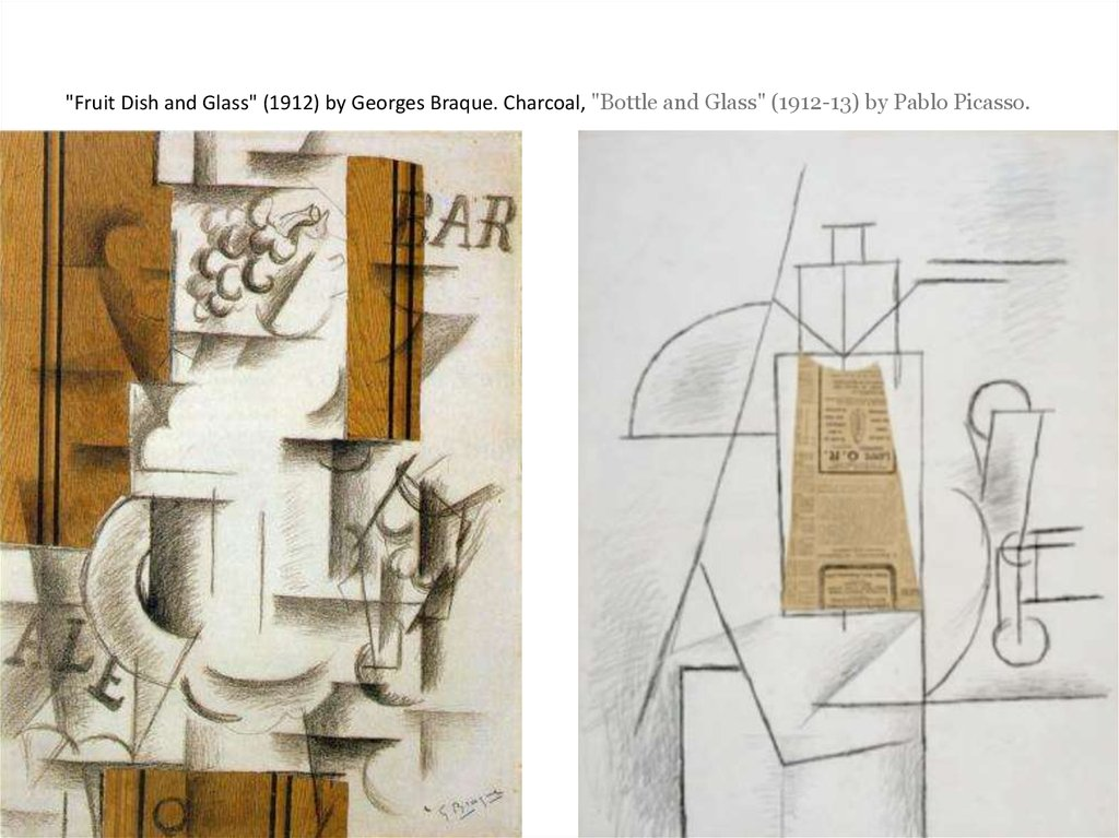 """Fruit Dish and Glass"" (1912) by Georges Braque. Charcoal, ""Bottle and Glass"" (1912-13) by Pablo Picasso."
