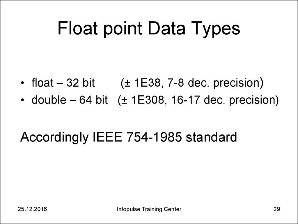 Float point Data Types