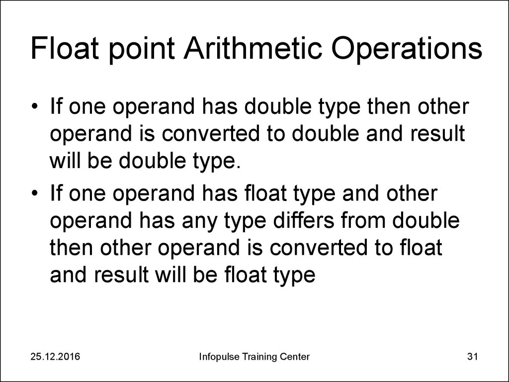 Float point Arithmetic Operations