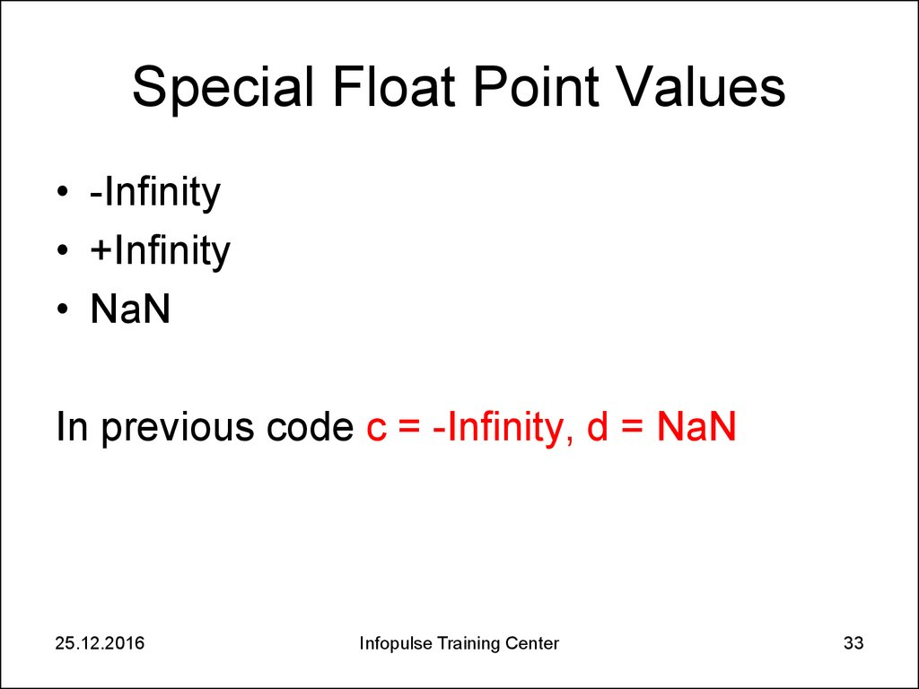Special Float Point Values