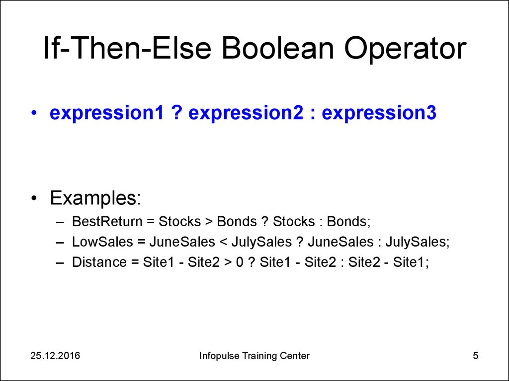 If-Then-Else Boolean Operator