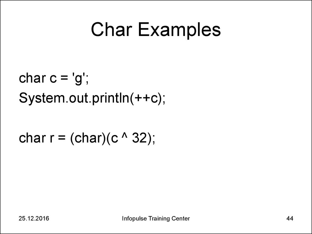 Char Examples