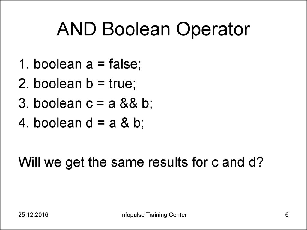 AND Boolean Operator