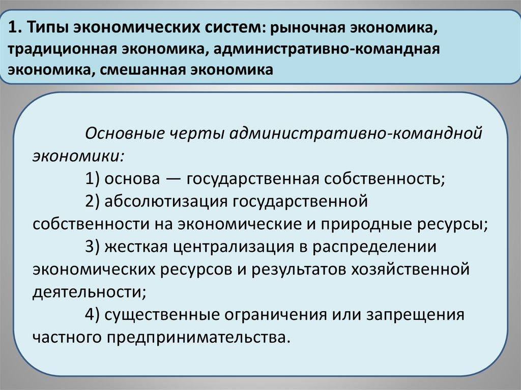 Основные принципы характерные для административно командной системы