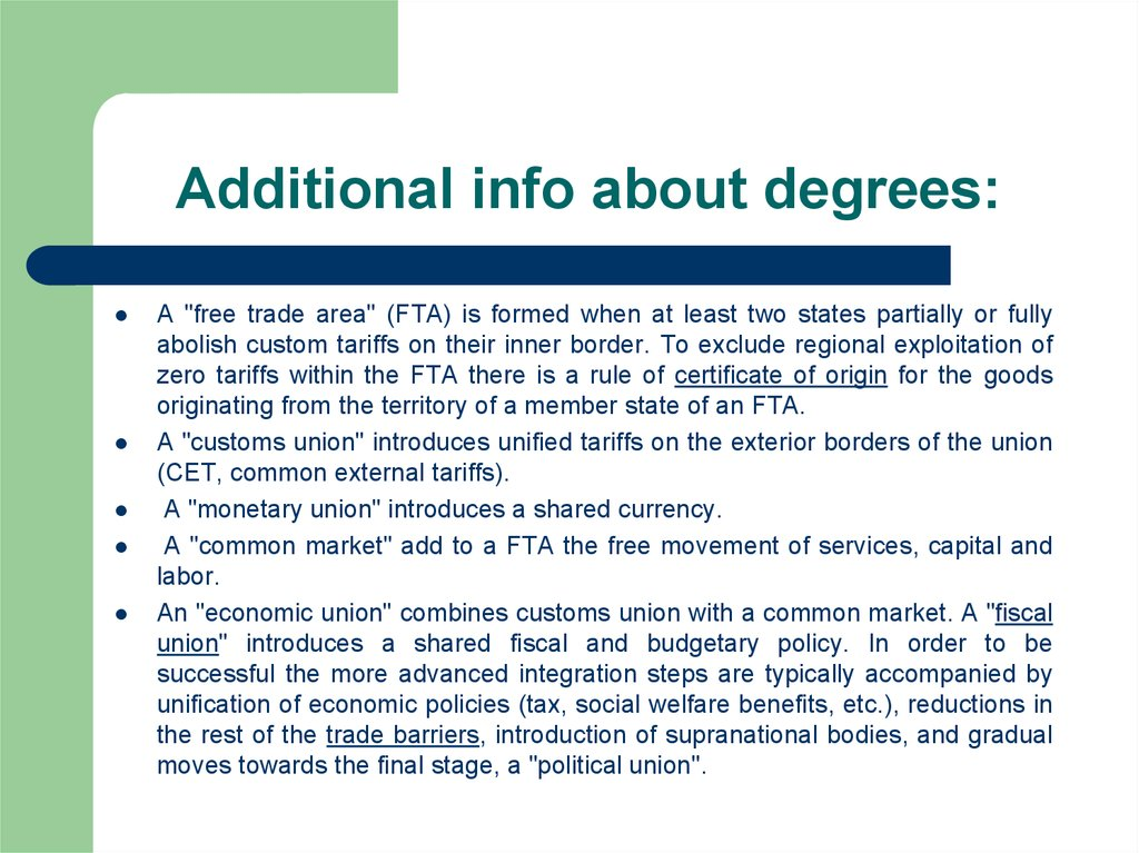 Additional info about degrees: