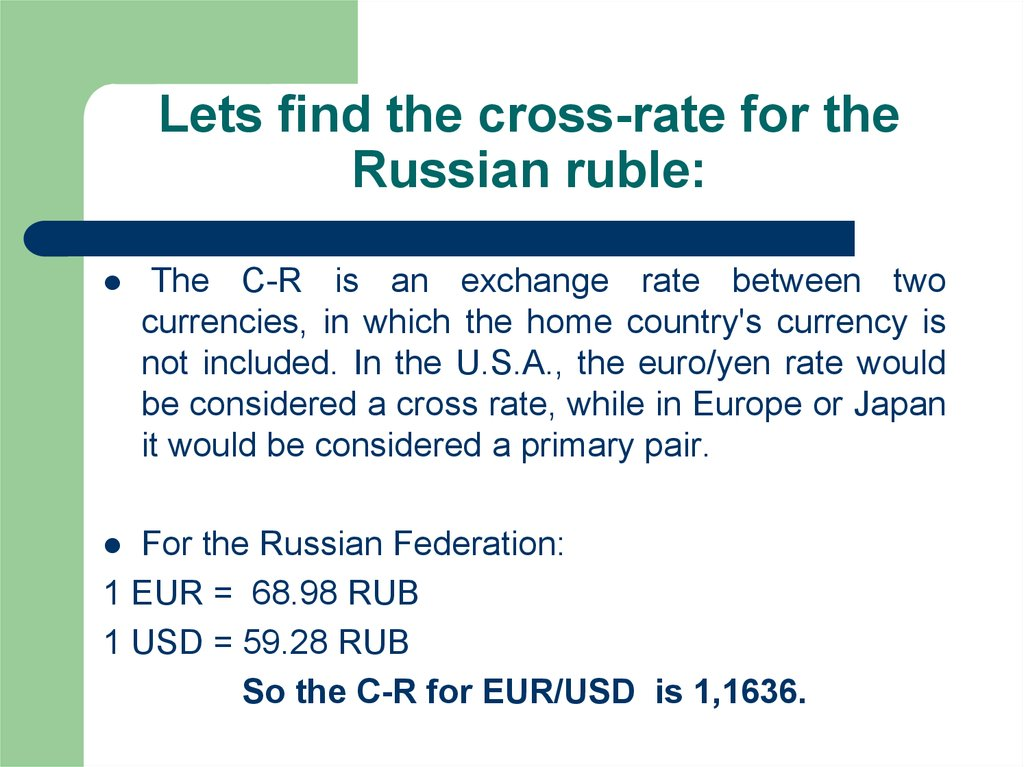 Lets find the cross-rate for the Russian ruble: