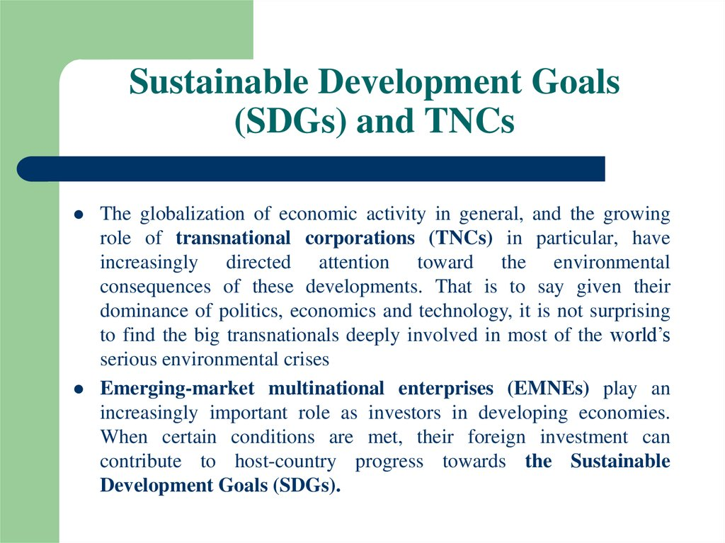 Sustainable Development Goals (SDGs) and TNCs
