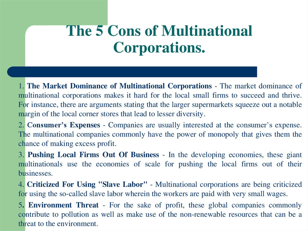 The 5 Cons of Multinational Corporations.