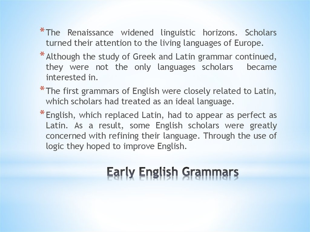 Early English Grammars