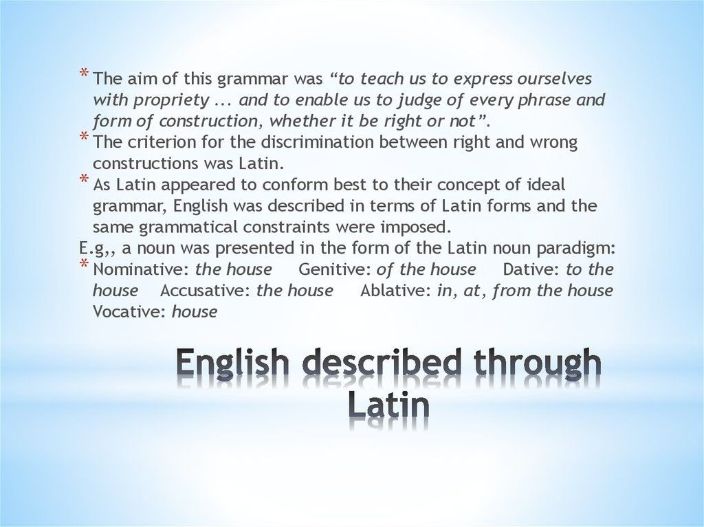 English described through Latin