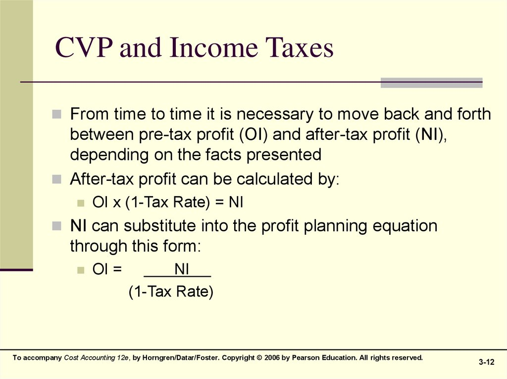 CVP and Income Taxes
