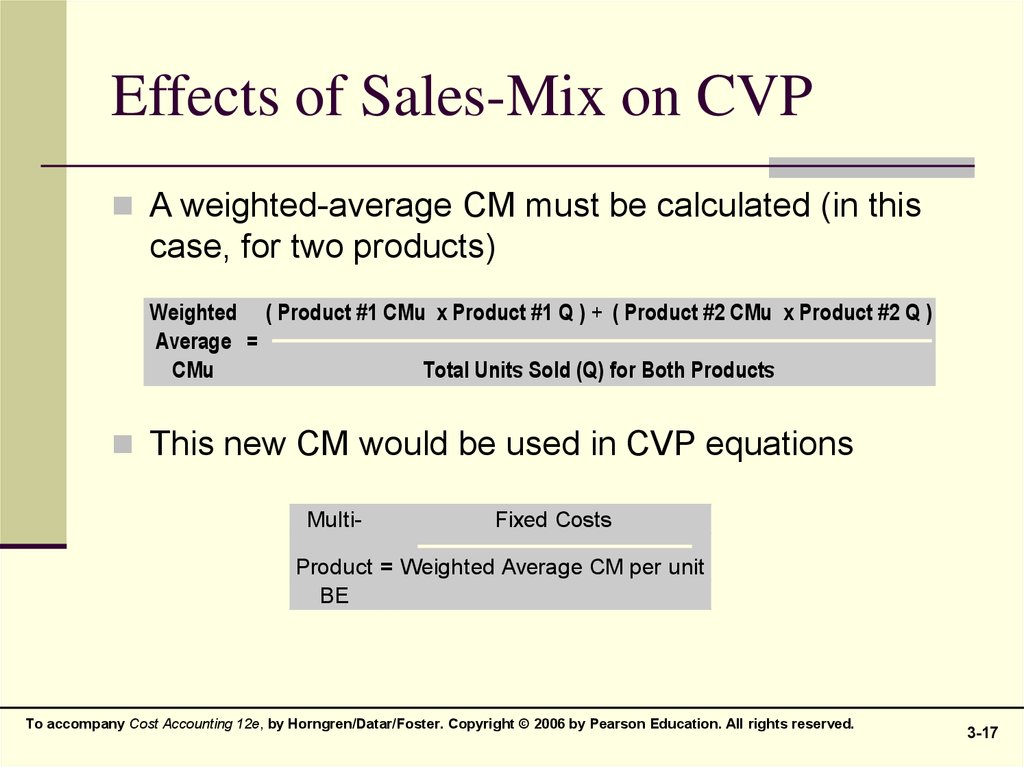 Effects of Sales-Mix on CVP
