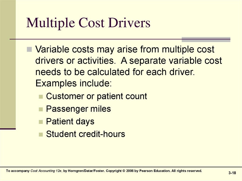 Multiple Cost Drivers