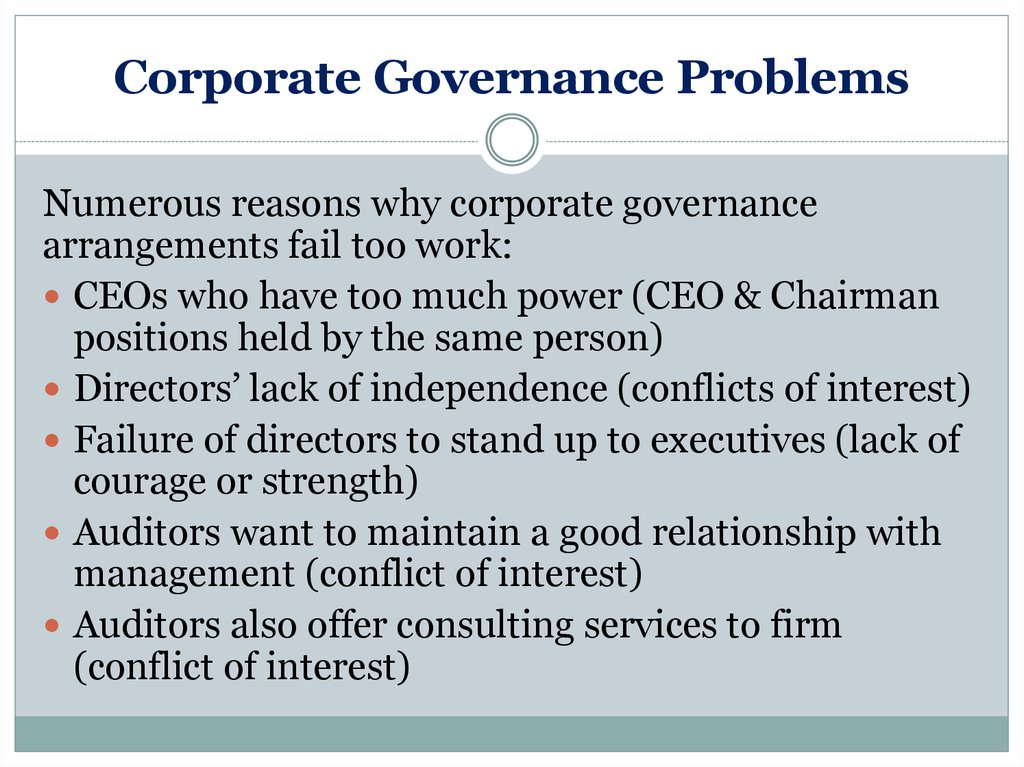 Corporate Governance Problems