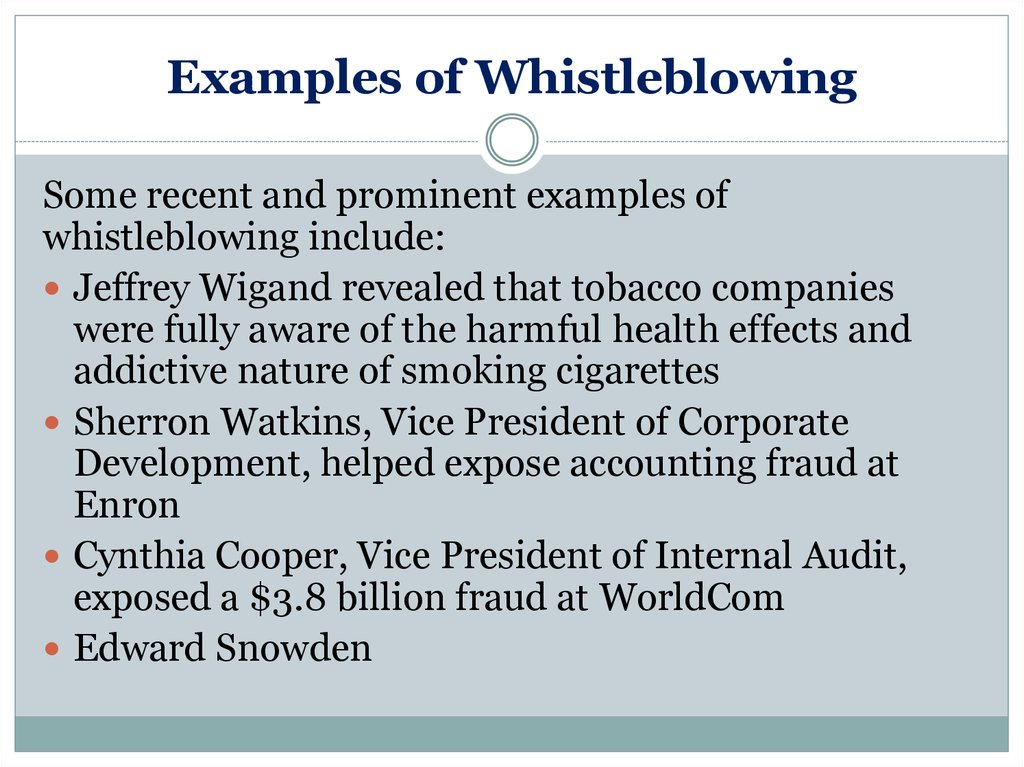 Examples of Whistleblowing