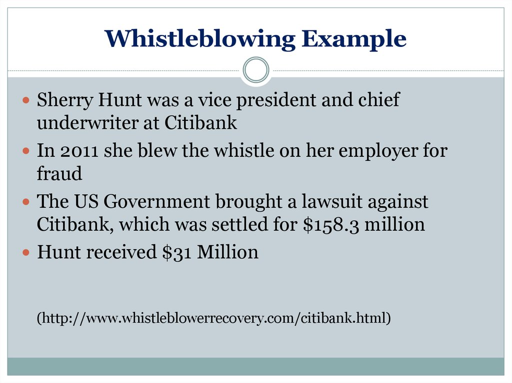 Whistleblowing Example