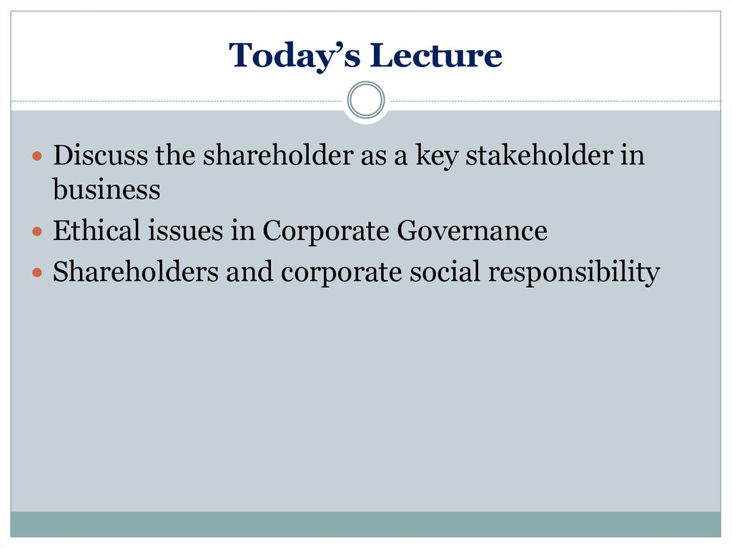 Shareholders and Business Ethics - online presentation