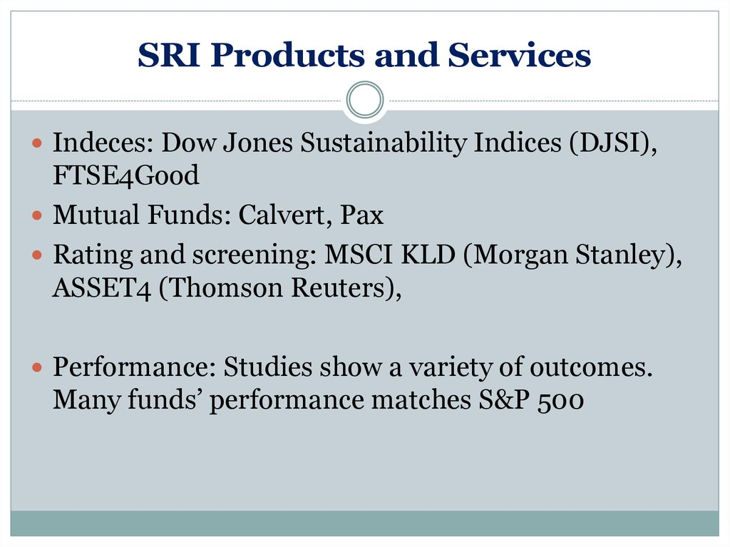SRI Products and Services