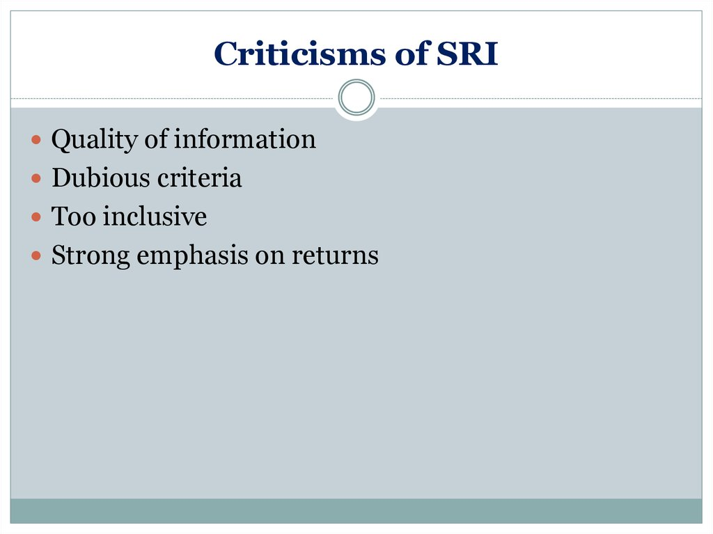 Criticisms of SRI