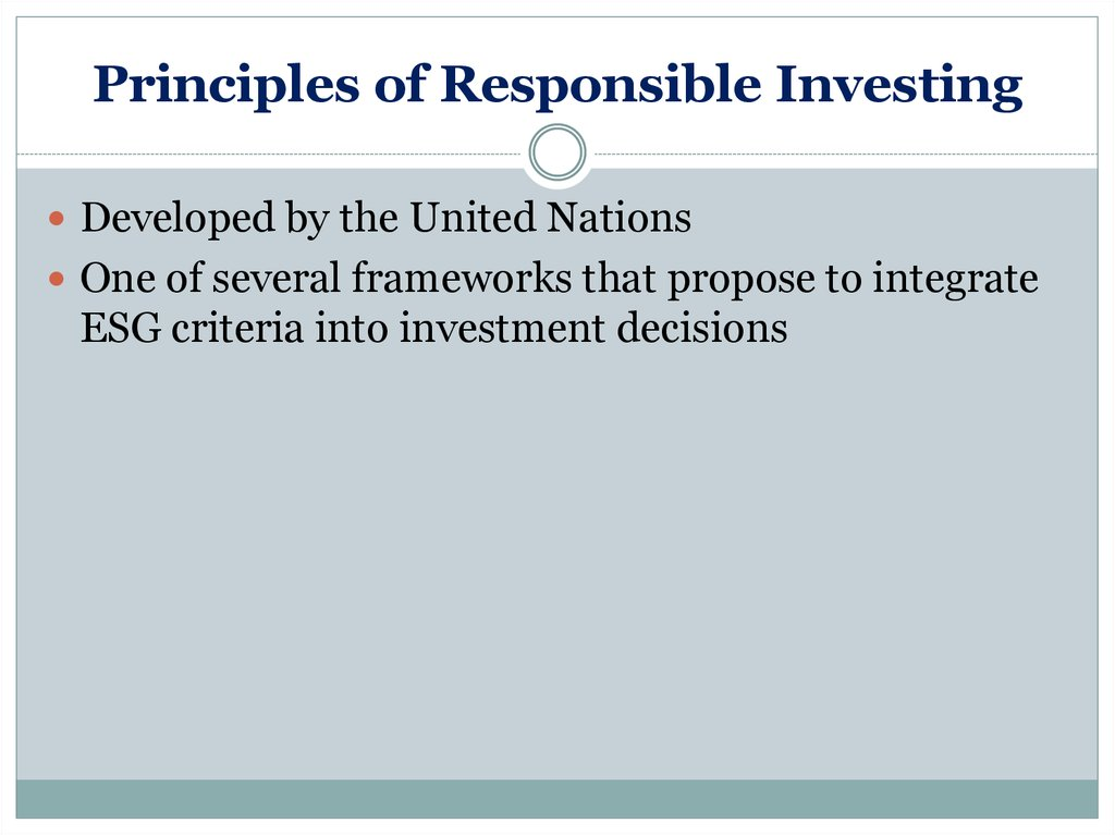 Principles of Responsible Investing