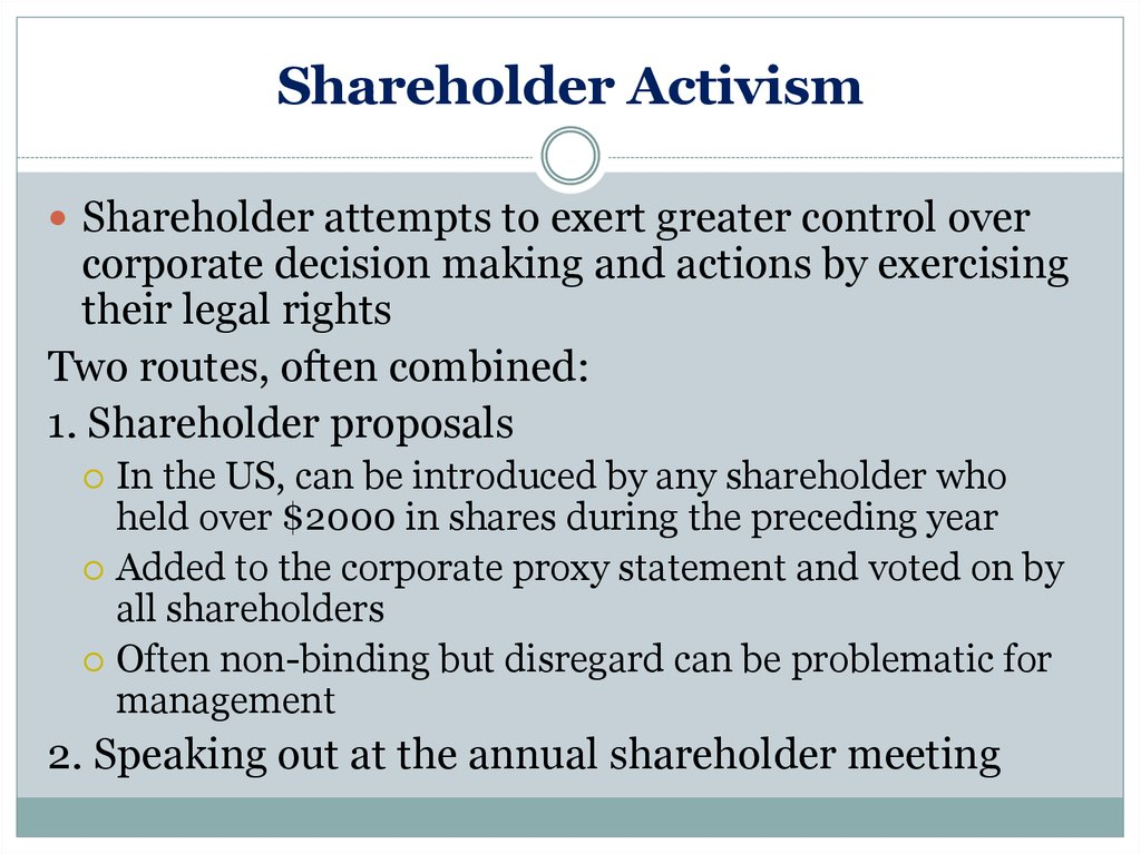 Shareholder Activism