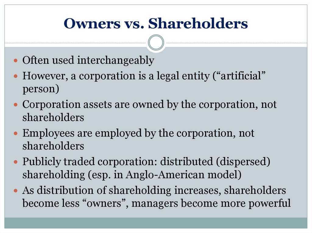 Owners vs. Shareholders