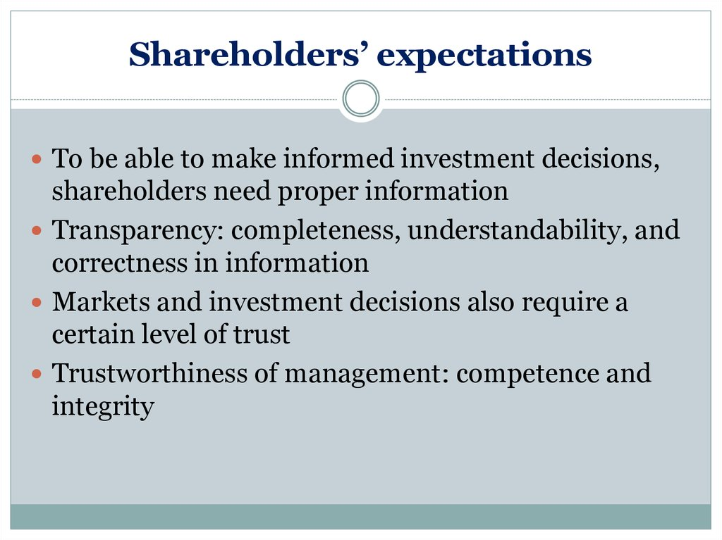 Shareholders' expectations