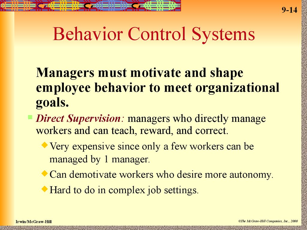 organizational control essay Management control systems essay within the system of organizational development, performance is scrutinized as a balance of.