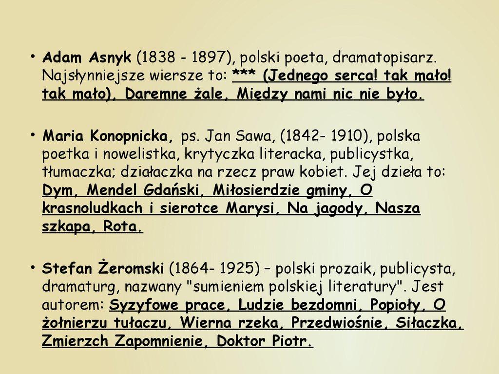 Najsławniejsi Polscy Pisarze I Poeci презентация онлайн
