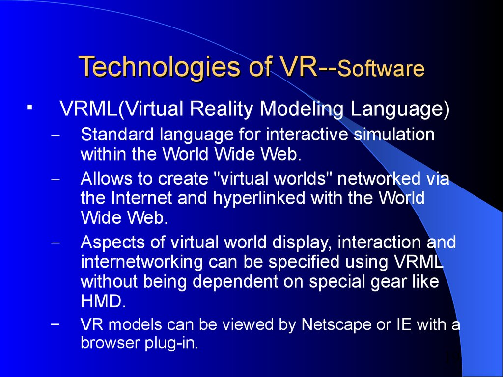 Technologies of VR--Software