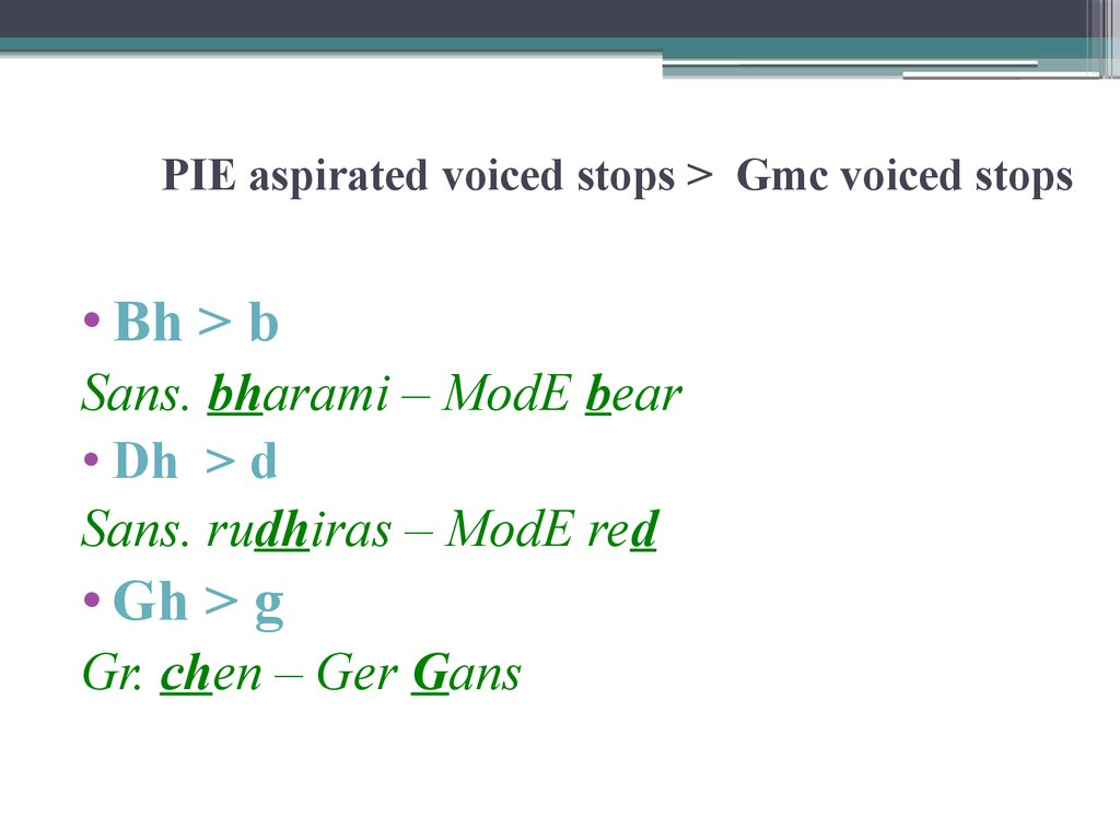 PIE aspirated voiced stops > Gmc voiced stops