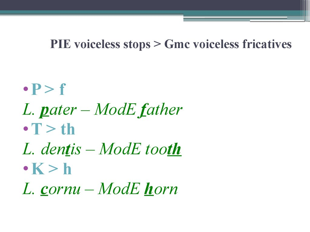 PIE voiceless stops > Gmc voiceless fricatives
