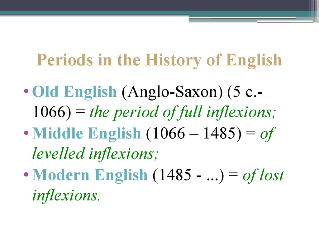Periods in the History of English