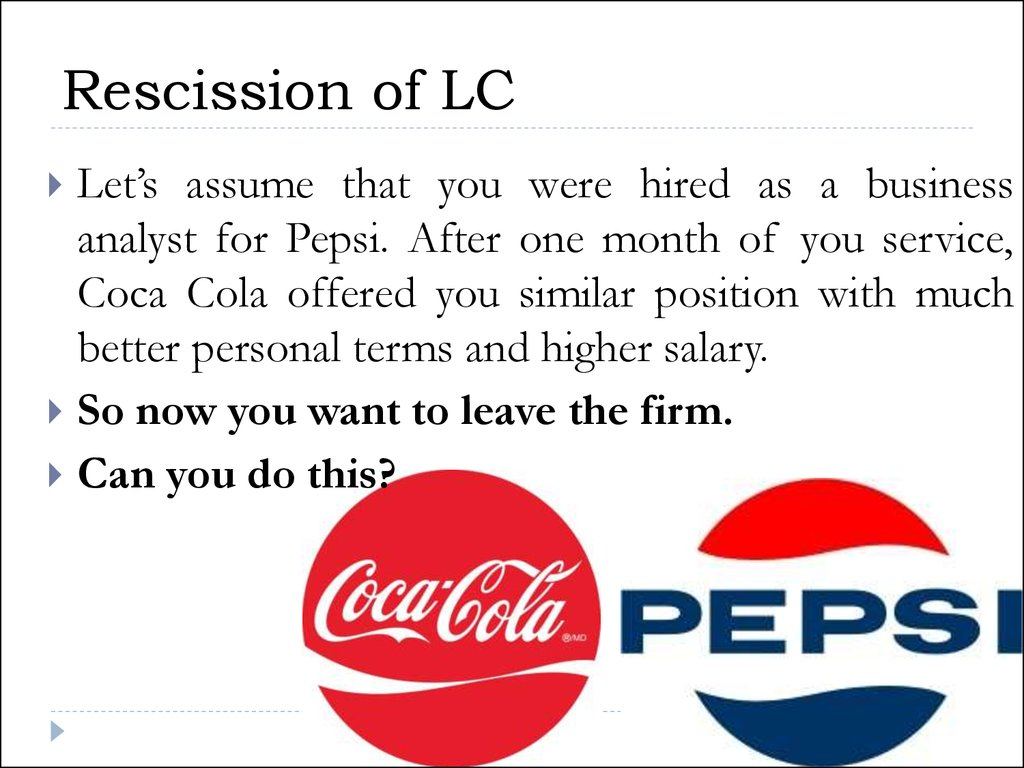 Rescission of LC