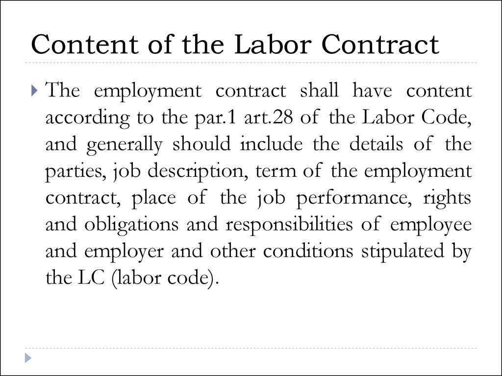 Content of the Labor Contract