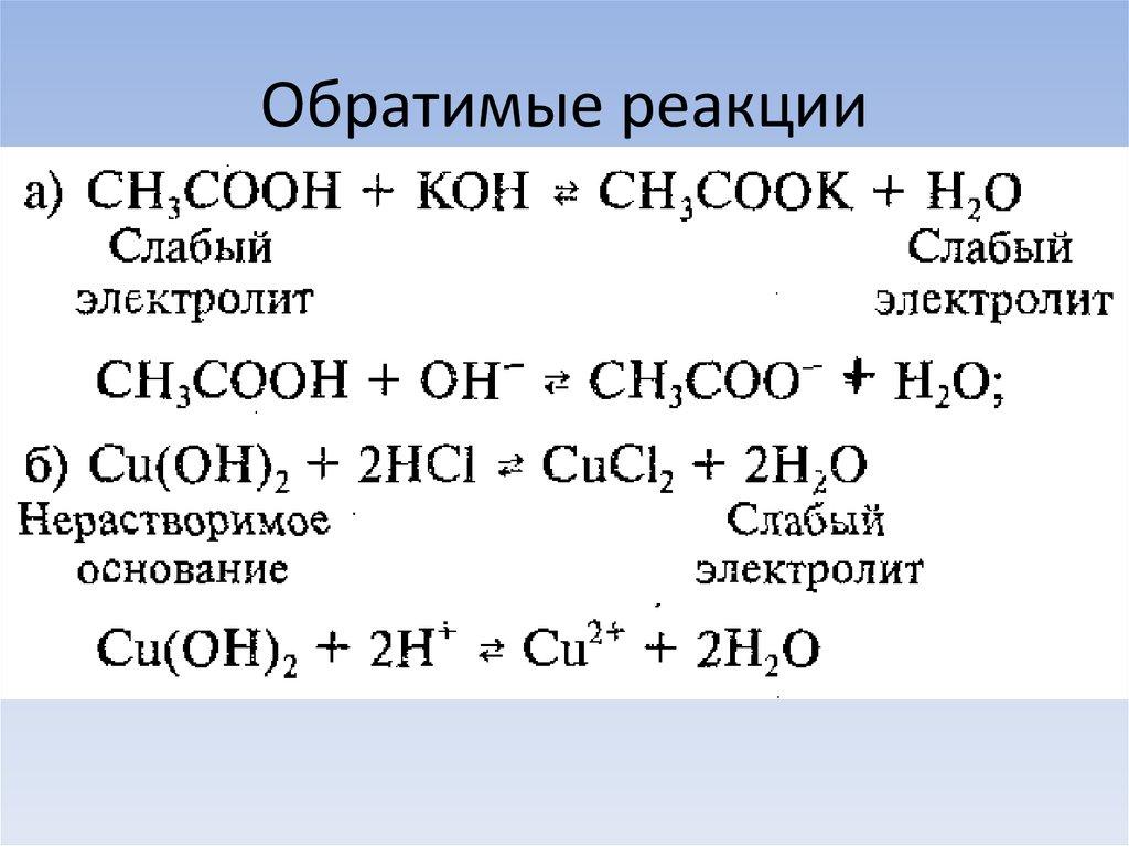 обратимые химические реакции примеры реакций