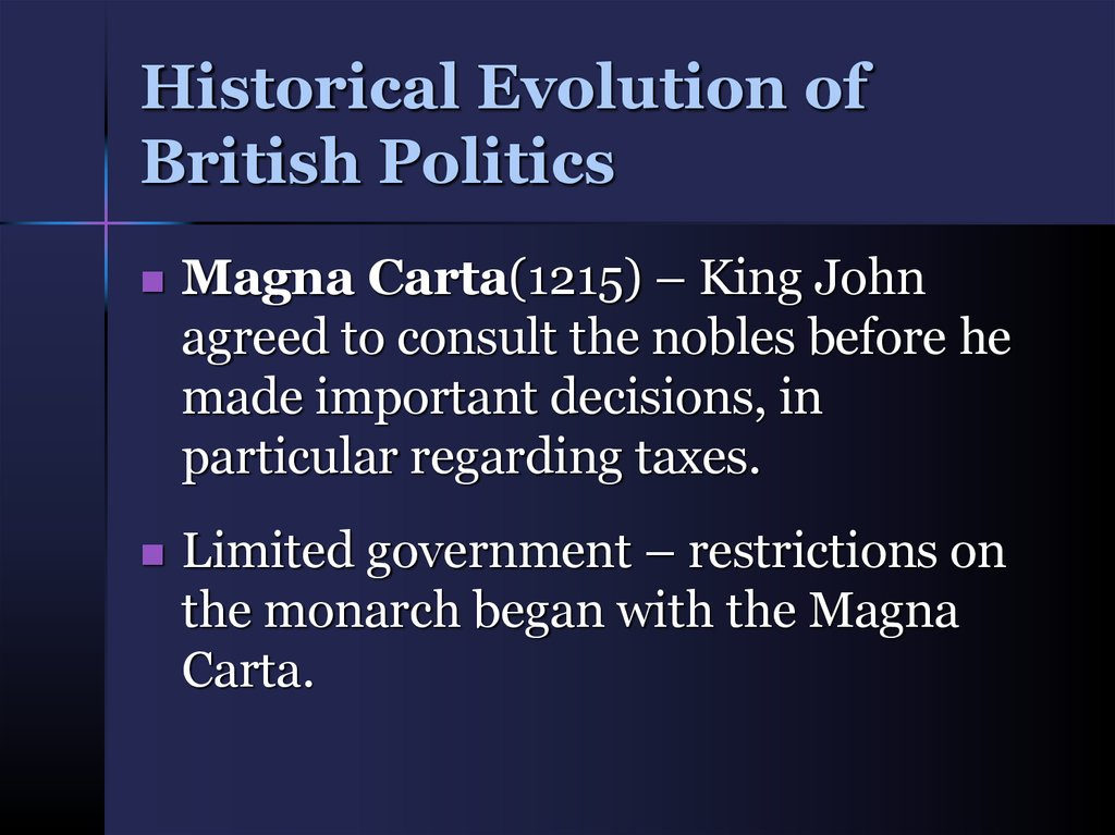 Historical Evolution of British Politics