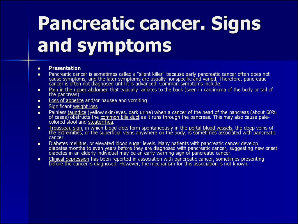 Pancreatic cancer. Signs and symptoms