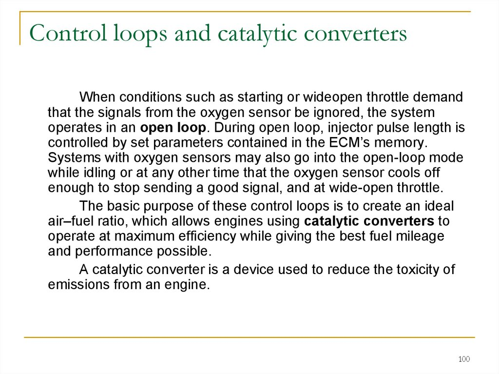 Control loops and catalytic converters