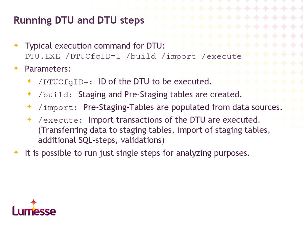 Running DTU and DTU steps