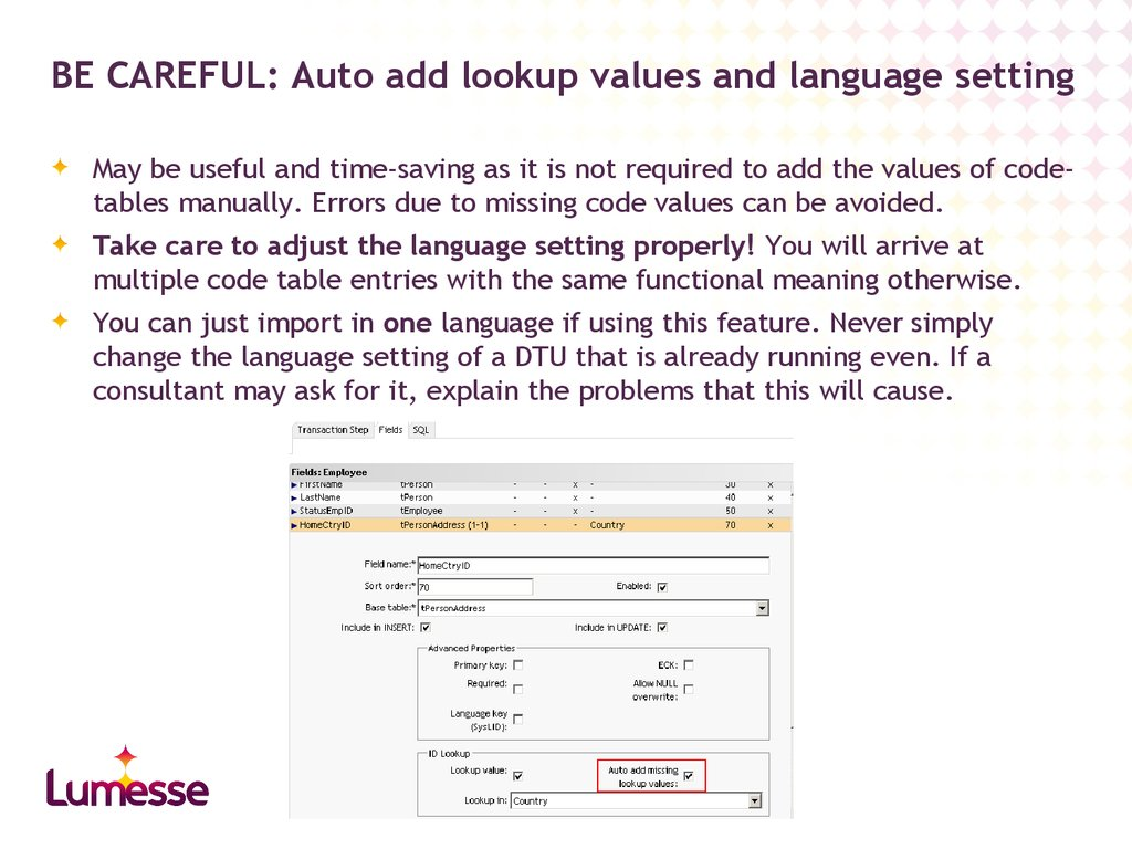 BE CAREFUL: Auto add lookup values and language setting