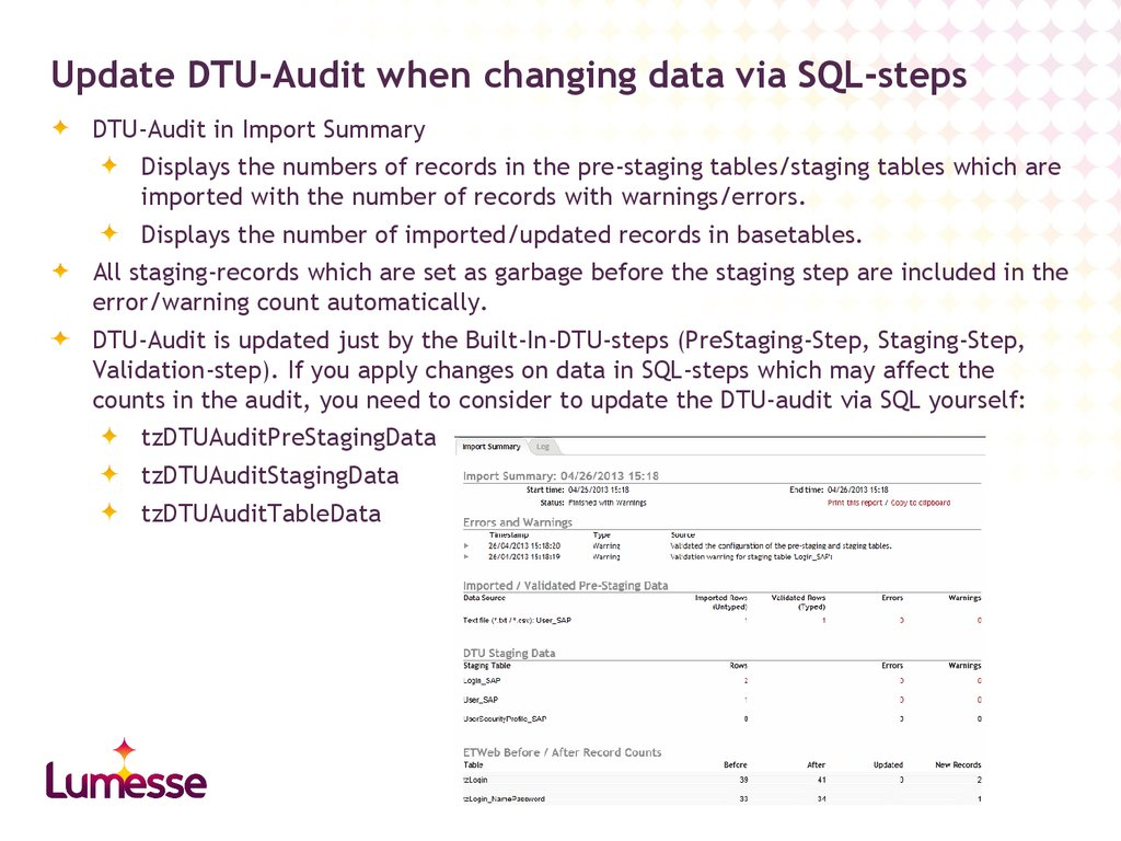 Update DTU-Audit when changing data via SQL-steps