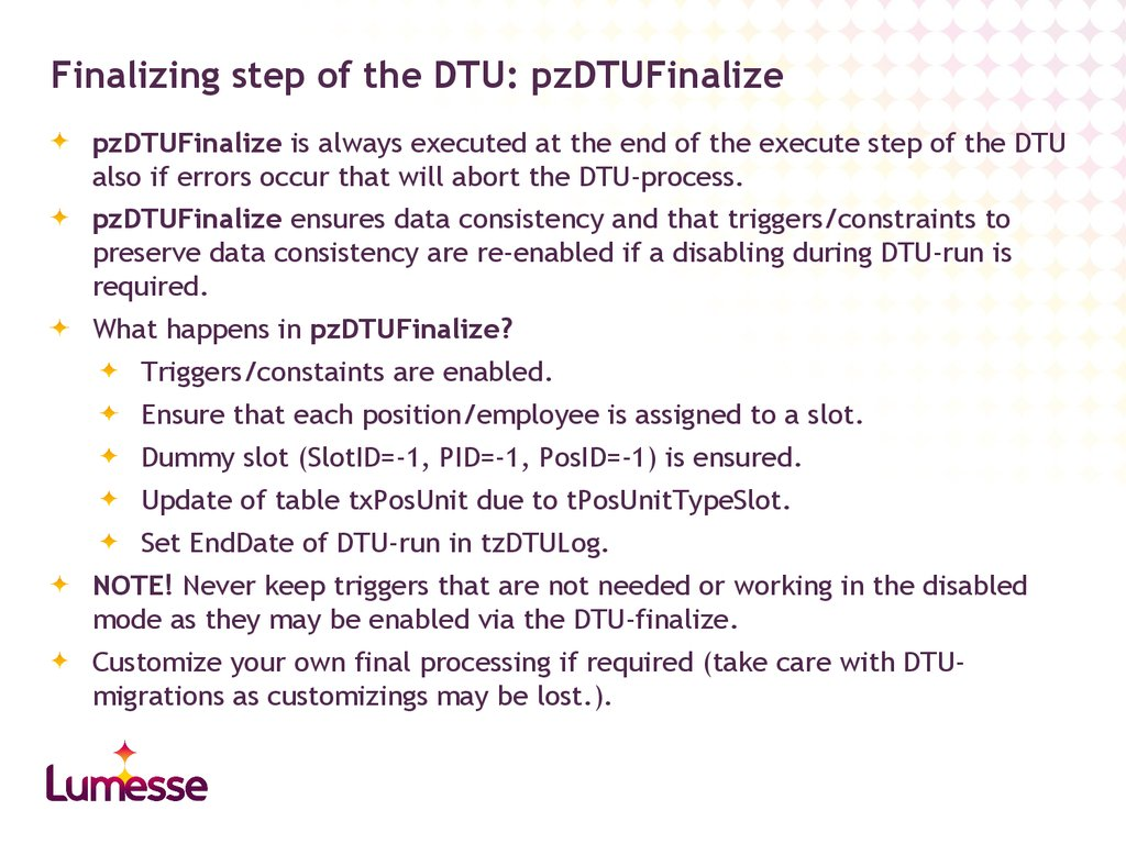 Finalizing step of the DTU: pzDTUFinalize