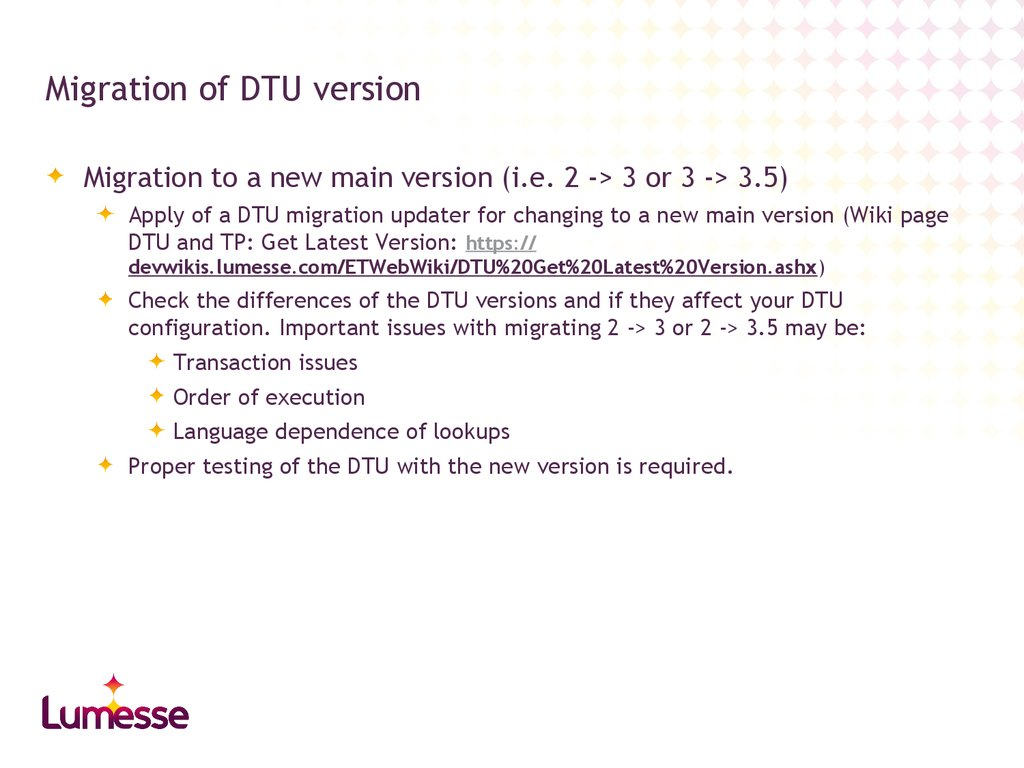 Migration of DTU version