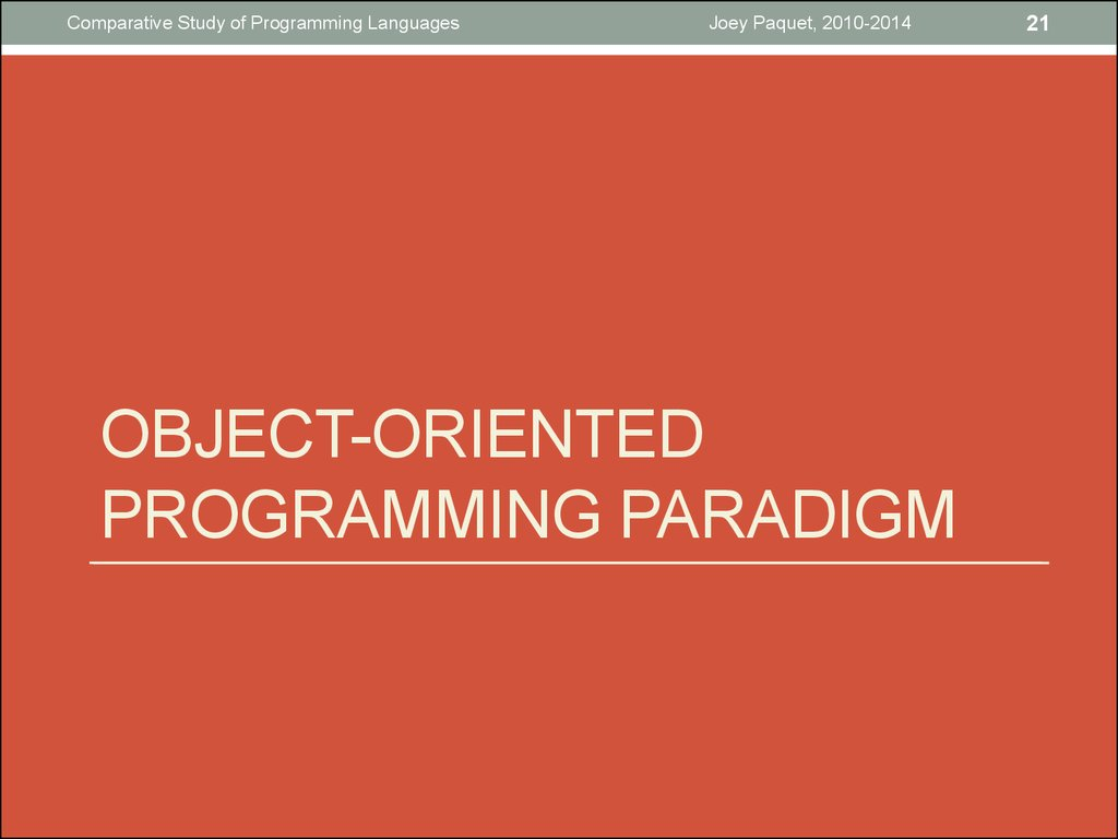 Object-oriented programming paradigm