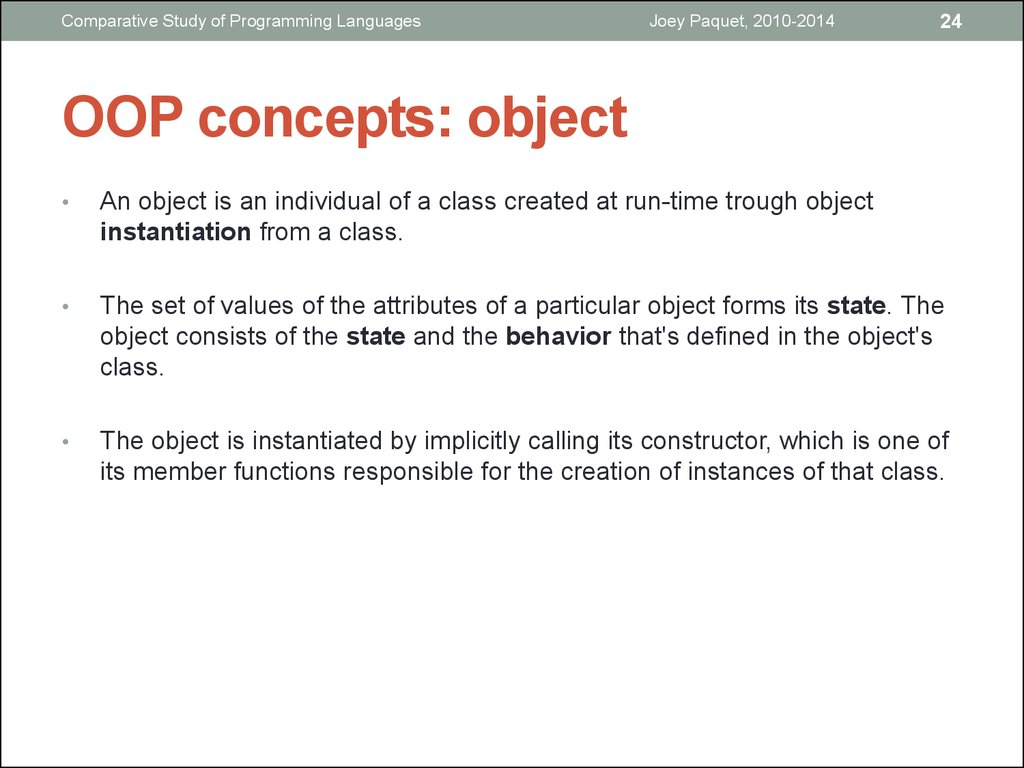 OOP concepts: object